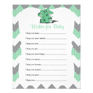 Green Chevron Elephant Baby Shower - Wishes Flyer