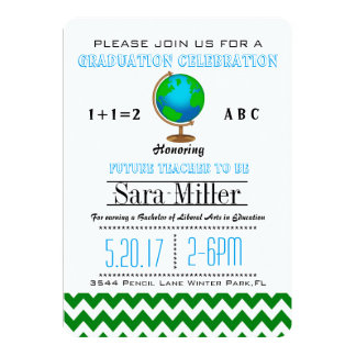 Green Chevron /Globe Teacher Graduation Invitation
