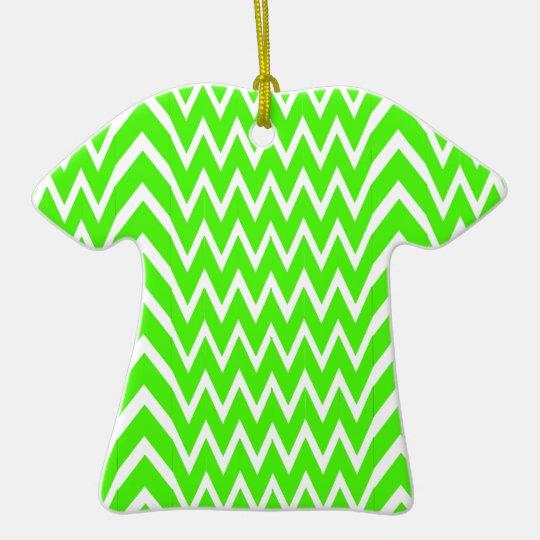 Green Chevron Illusion Ceramic Ornament