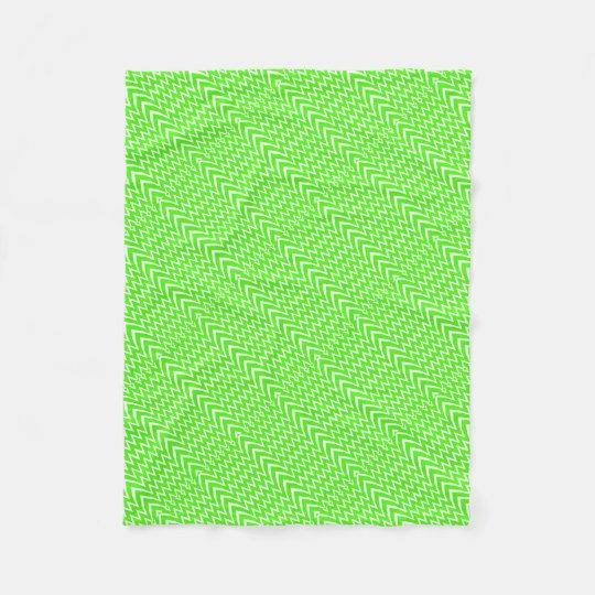 Green Chevron Illusion Fleece Blanket