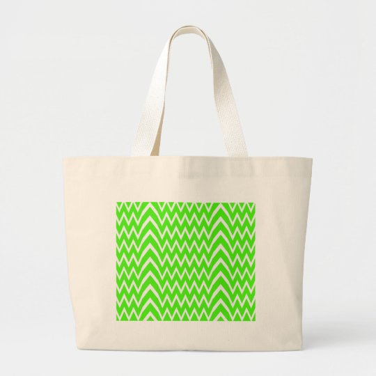 Green Chevron Illusion Large Tote Bag