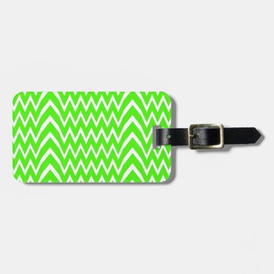 Green Chevron Illusion Luggage Tag