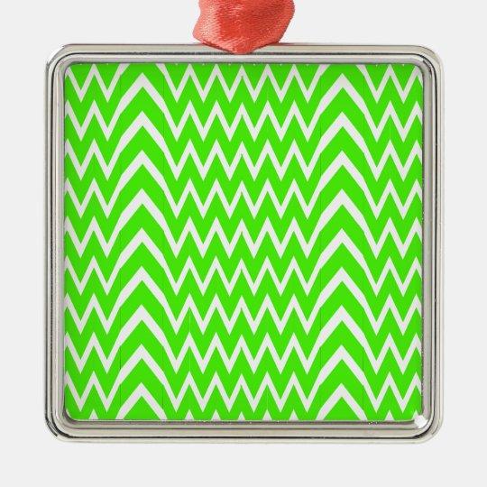 Green Chevron Illusion Metal Ornament