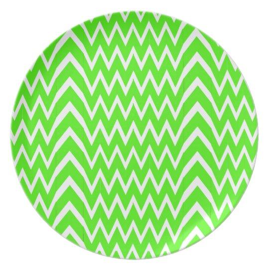 Green Chevron Illusion Plate