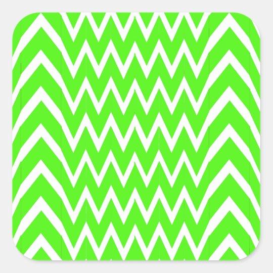 Green Chevron Illusion Square Sticker