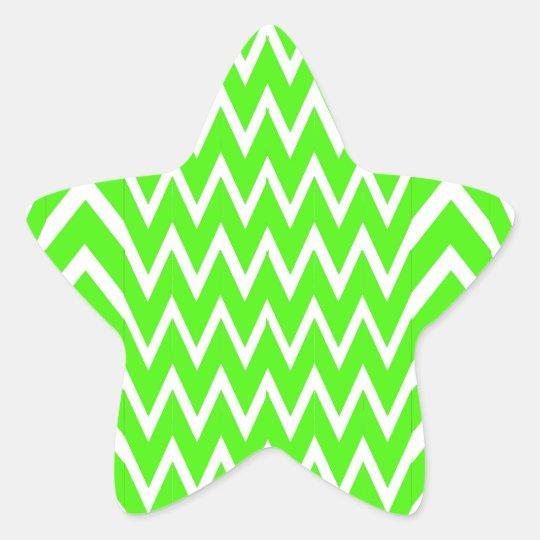 Green Chevron Illusion Star Sticker