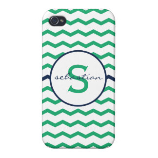 Green Chevron Monogram Covers For iPhone 4