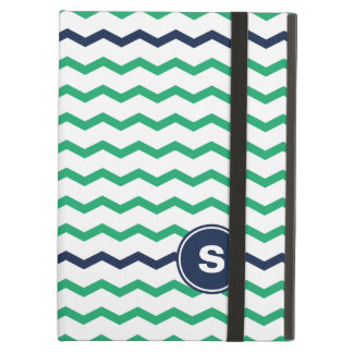 Green Chevron Monogram iPad Air Covers