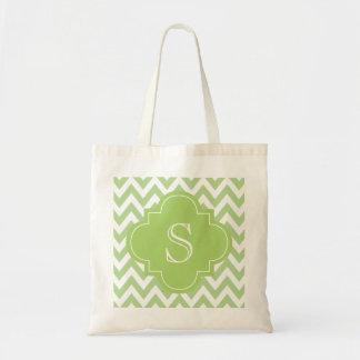 Green Chevron Moroccan Monogram Tote Bag