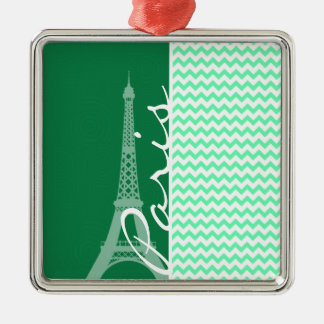 Green Chevron; Paris Christmas Tree Ornaments