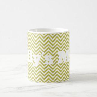 Green Chevron Pattern Personnalised Coffee Mug