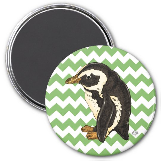Green chevron penguin magnet