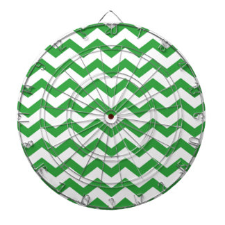 green chevron stripes dartboard with darts