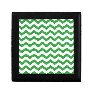 green chevron stripes gift box