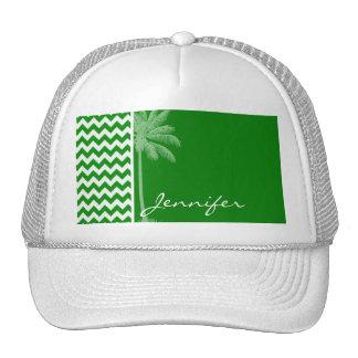 Green Chevron Stripes; Summer Palm Trucker Hat