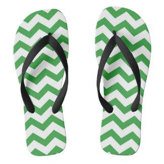 Green Chevron Stripes Thongs