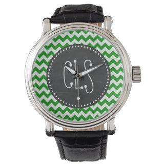 Green Chevron Stripes; Vintage Chalkboard Wristwatch
