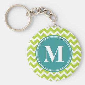 Green Chevron with Custom Monogram Key Ring