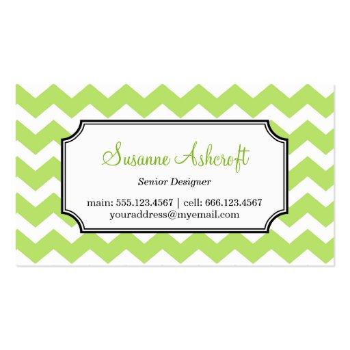 Green chevron zigzag pattern stylish personal business cards