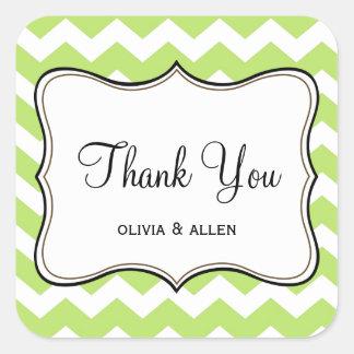 Green chevron zigzag pattern thank you favor tag square sticker
