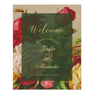 Green chic vintage roses wedding welcome script poster
