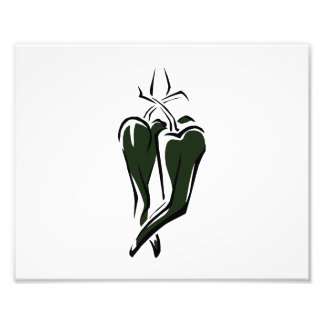 Green chili pepper two dancing abstract photo print