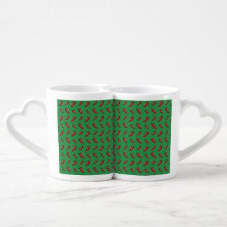 Green chili peppers pattern couple mugs