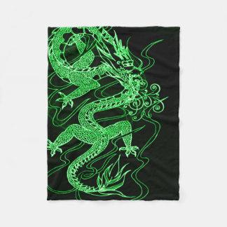 Green Chinese Dragon Fleece Blanket
