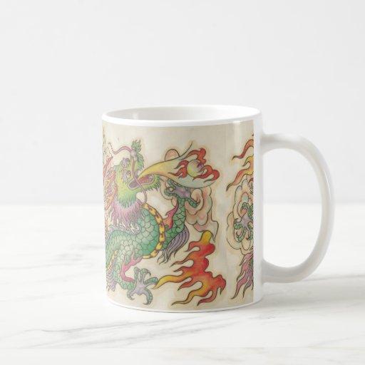 green chinese dragon coffee mug