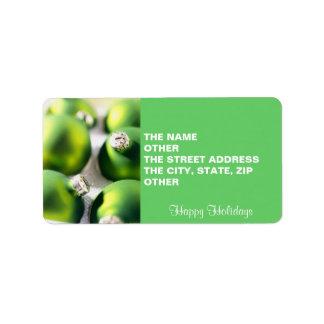 Green Christmas Balls - return address labels