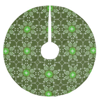 Green Christmas Decorative Poinsettia pattern Brushed Polyester Tree Skirt