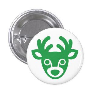 Green Christmas Deer Mini Button