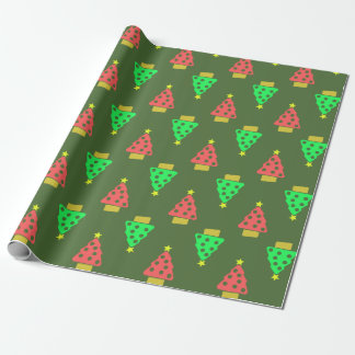 Green Christmas Doodle Trees Pattern