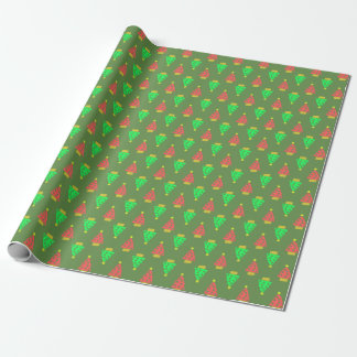Green Christmas Doodly Trees Wrapping Paper