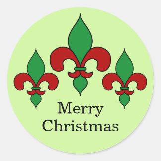 Green Christmas Fleur de Lis Stickers