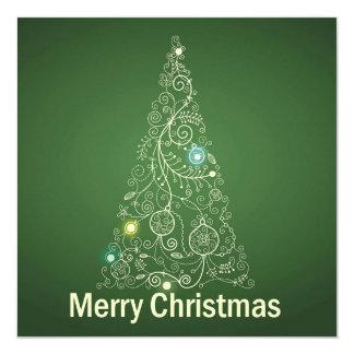 Green Christmas Greeting Card 13 Cm X 13 Cm Square Invitation Card