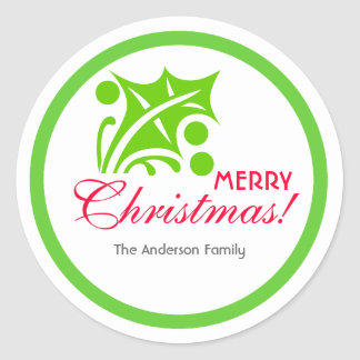 Green Christmas Holly Leaf Round Sticker