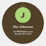 Green Christmas Ornament Monogram Address Labels Round Stickers