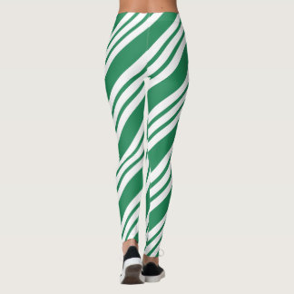 Green Christmas Party Holiday Candy Cane Leggings