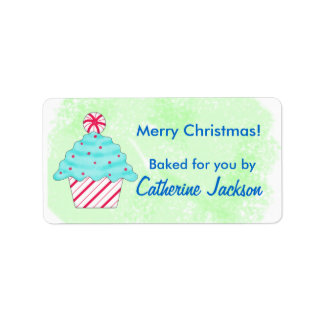 Green Christmas Peppermint Cupcake Food Gift Label