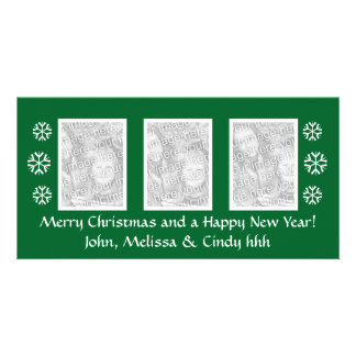 Green Christmas photocard template | three photos