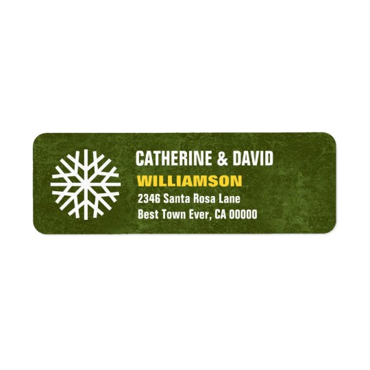 GREEN Christmas Snowflake Simple G103G Return Address Label