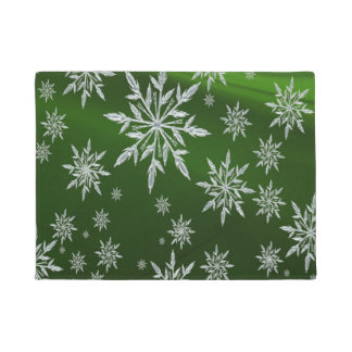 Green Christmas stars with white ice crystal Doormat
