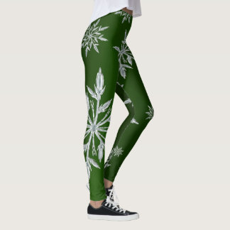 Green Christmas stars with white ice crystal Leggings