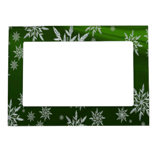 Green Christmas stars with white ice crystal Magnetic Picture Frame
