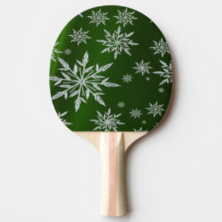 Green Christmas stars with white ice crystal Ping Pong Paddle