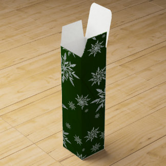 Green Christmas stars with white ice crystal Wine Gift Box