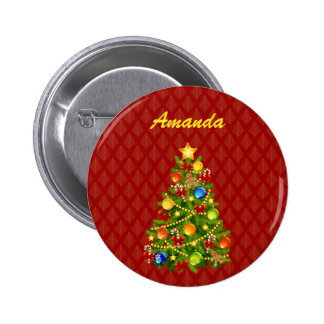 Green Christmas Tree 6 Cm Round Badge