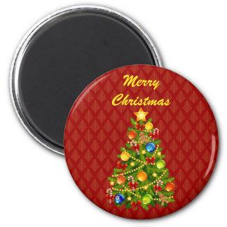 Green Christmas Tree 6 Cm Round Magnet