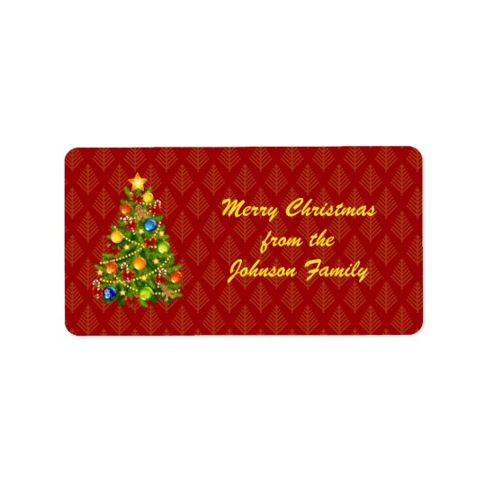 Green Christmas Tree Address Label